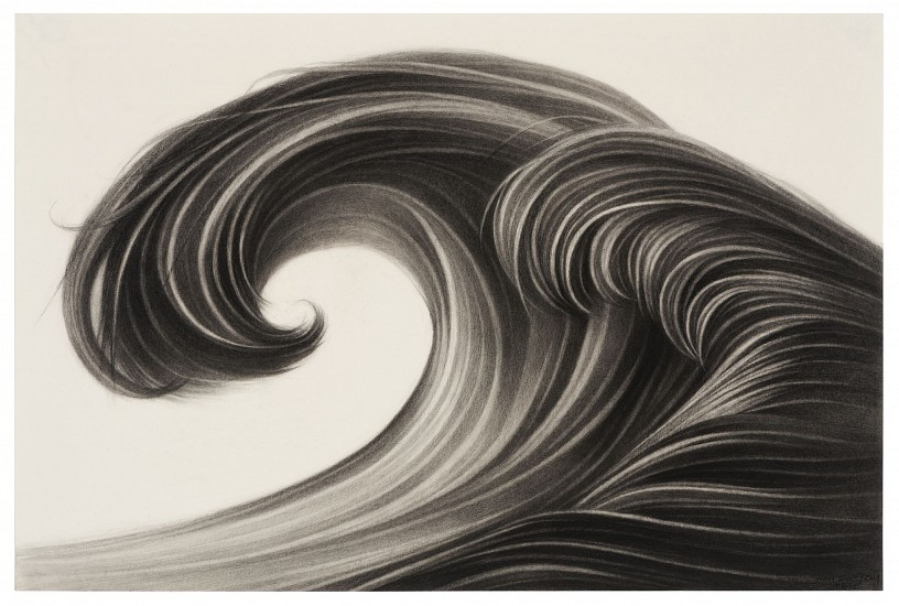 Hong Chun Zhang, Small Wave #2 2018, Charcoal on Paper with frame